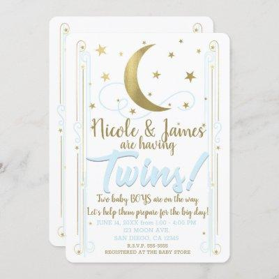 Whimsical Blue Gold Moon Stars Twins Baby Shower Invitation
