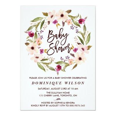 Whimsical Bohemian Floral Wreath Baby Shower Invitation