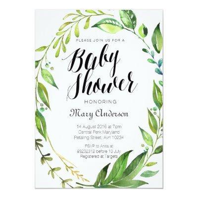 Whimsical Botanical Baby Shower Invitation