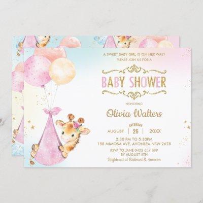 Whimsical Cute Giraffe Balloons Baby Shower Girl Invitation