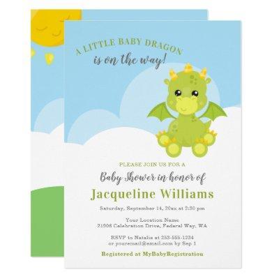 Whimsical Dragon Baby Boy Shower Invitation