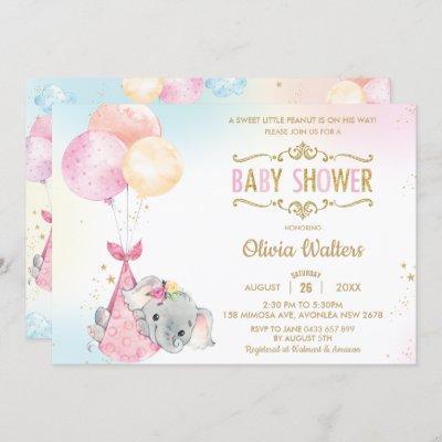 Whimsical Elephant Balloons Baby Shower Girl Invitation