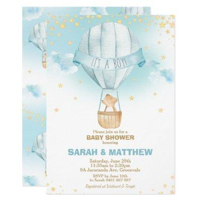 Whimsical Hot Air Balloon Baby Shower Bear Boy Invitation