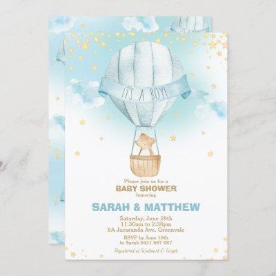 Whimsical Hot Air Balloon Baby Shower Bear Boy Invitation