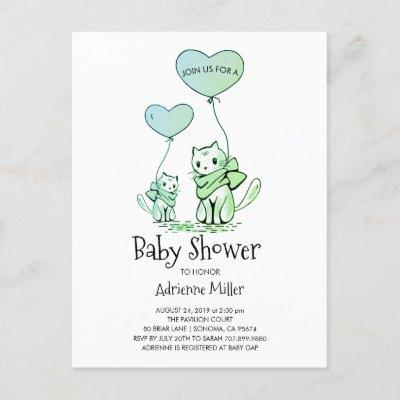 Whimsical Kittens and Balloons Boy Baby Shower Invitation Postcard
