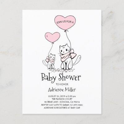 Whimsical Kittens and Balloons Girl Baby Shower Invitation Postcard