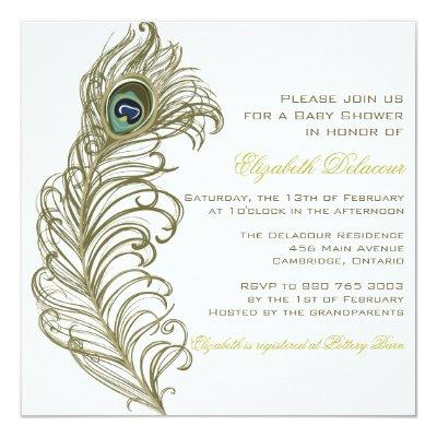 Whimsical Peacock Feather Invitations