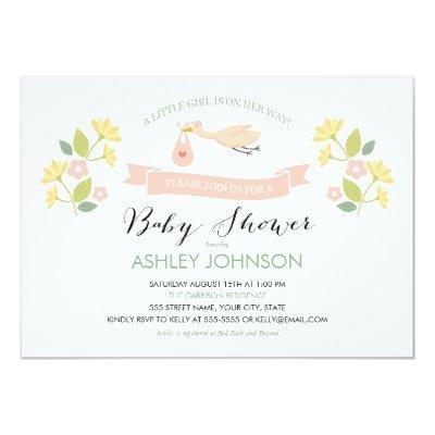 Whimsical Stork Baby Shower Invitation