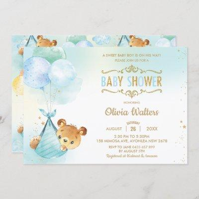 Whimsical Teddy Bear Balloons Baby Shower Boy Invitation