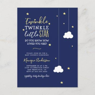 Whimsical Twinkle Twinkle Little Star Baby Shower Invitation Postcard