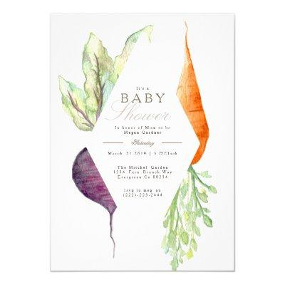 Whimsical Veggie Patch Baby Shower | Beet & Carrot Invitation
