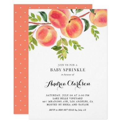 Whimsical Watercolor Peaches Summer Baby Sprinkle Invitation