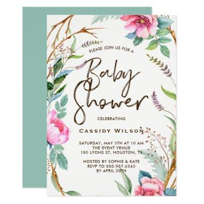 Whimsical Watercolor Wreath Baby Shower Invitations