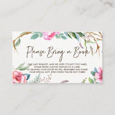 Whimsical Watercolor Wreath Please Bring a Book Enclosure Card