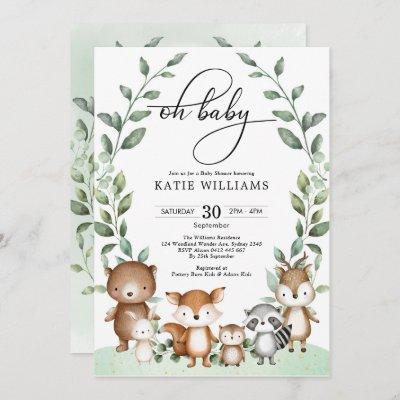 Whimsical Woodland Animals Greenery Baby Shower Invitation