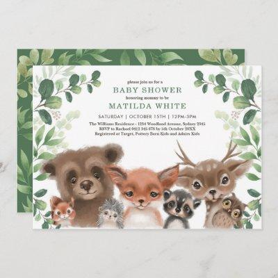 Whimsical Woodland Baby Shower Forest Greenery Invitation