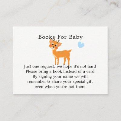 Whimsy Deer Hearts Winter Baby Shower Book Request Enclosure Card