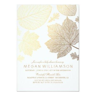 White and Gold Leaves Fall Baby Shower Invitation