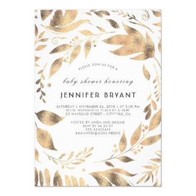 White and Gold Leaves Laurel Fall Invitations