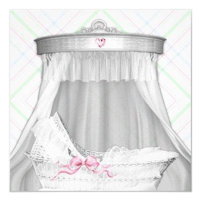 White and Pink Bassinet Baby Girl Shower Invitations