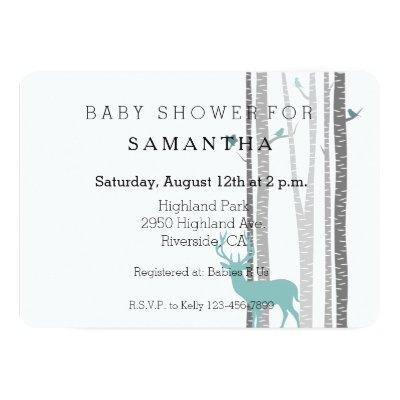 White Birch Trees with Deer and Birds baby shower Invitation
