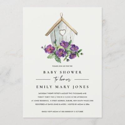 WHITE BOHO RUSTIC FLORAL BIRDHOUSE BABY SHOWER INVITATION