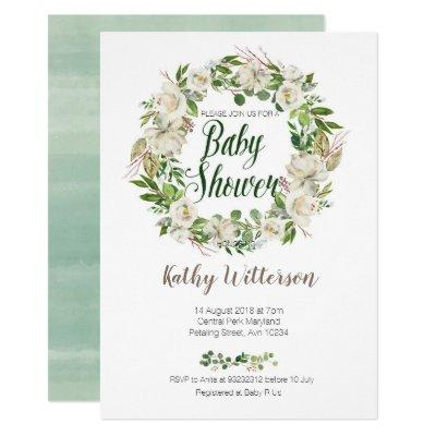 White Floral baby shower Invitations card