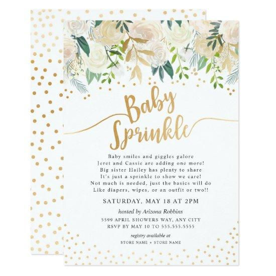 White Floral Baby Sprinkle Invitation