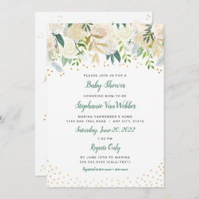 White Floral Gold Confetti Baby Shower Invites