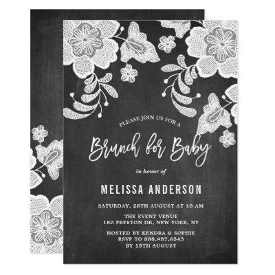 Chalkboard and lace baby shower baby shower invitations baby white floral lace chalkboard baby shower brunch invitations filmwisefo Gallery