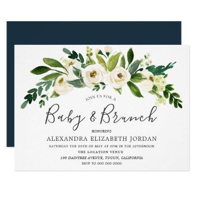 White Flowers Blooming Baby & Brunch Invitations