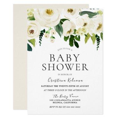White Flowers & Cream Elegant Baby Shower Invitation
