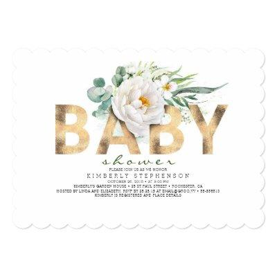 White Flowers Greenery and Gold Foil Baby Shower Invitation