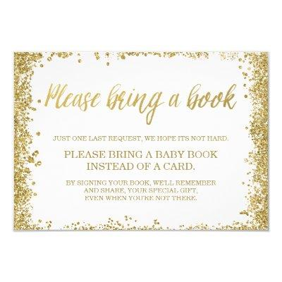 White Gold Faux Glitter Baby Shower Book Invitations