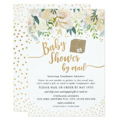 White Gold Floral Baby Shower by mail Invitation