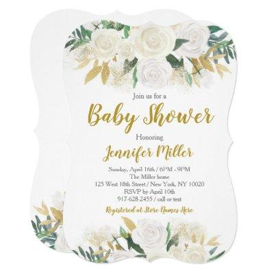 White & Gold Floral Baby Shower Invitations