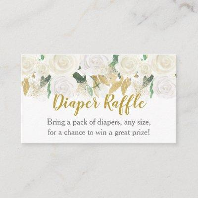 White & Gold Floral Diaper Raffle Tickets Enclosure Card