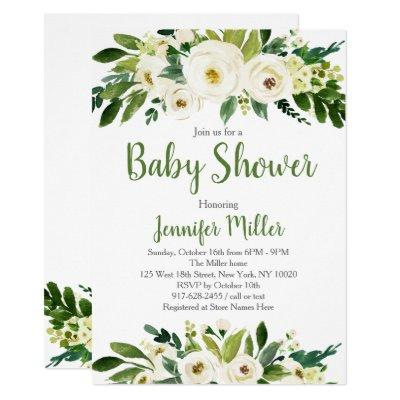 White & Green Floral Baby Shower Invitations