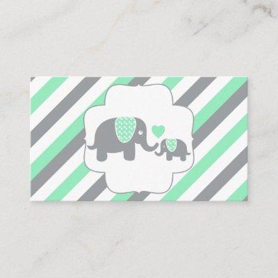 White, Green & Gray Stripe Elephants Diaper Raffle Enclosure Card