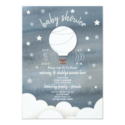 White Hot Air Balloon + Stars Neutral Baby Shower Invitations