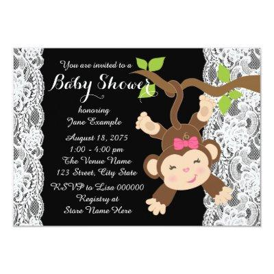White Lace Monkey Baby Girl Shower Invitations