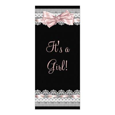 White Lace Pink Ribbon Pink and Black Baby Shower Invitations