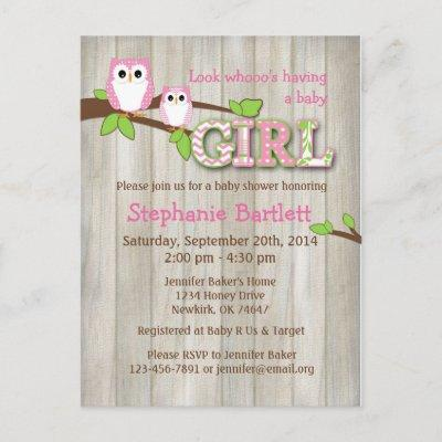 White Owl Chevron Baby Shower Invitation