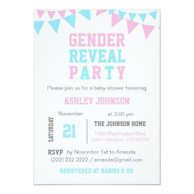 White Pink Blue GENDER REVEAL PARTY