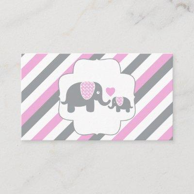 White, Pink & Gray Stripe Elephants Diaper Raffle Enclosure Card
