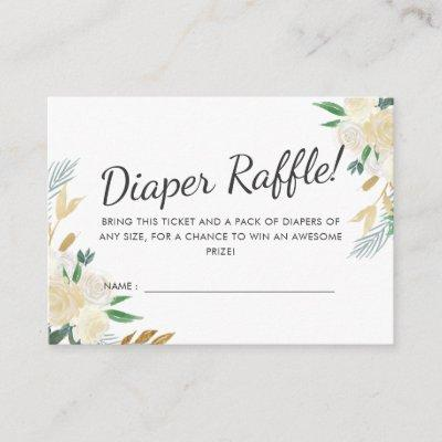 White Rose | Baby Shower |Diaper Raffle Game Enclosure Card