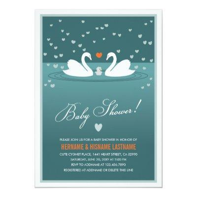 White Swan Family Couples Baby Shower Invite