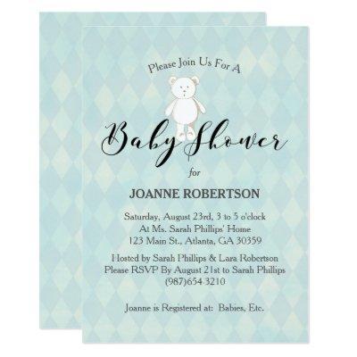 White Teddy Bear Blue Diamond Baby Shower Invitations