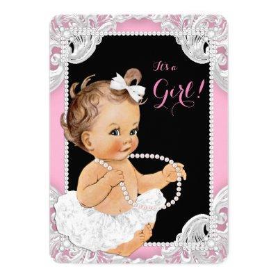 White Tutu Pink Black Pearl Baby Girl Shower Invitation