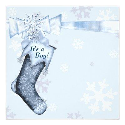 White Winter Blue Snowflakes Baby Boy Shower Invitations